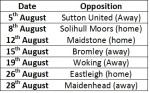Orient's August Fixtures