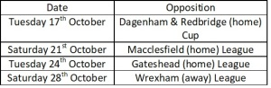 Orient next four fixtures Oct 17