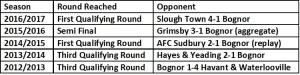 Bognor Last 5 Fa trophy seasons