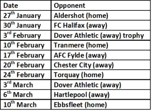 Jan, Feb , March fixtures