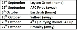 Braintree next 6 games